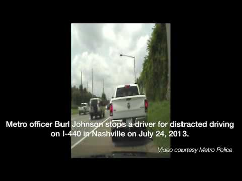 Raw: Texting while driving traffic stop on I-440W in Nashville