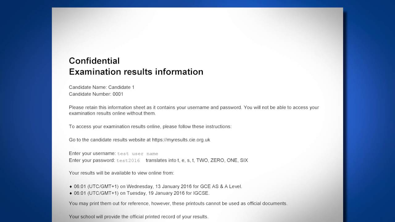 Administering the Candidate Results Service