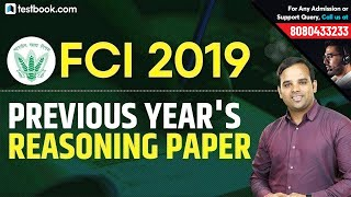 FCI Recruitment 2019 | Previous Year's Reasoning Question Paper | Reasoning Class by Sachin Sir