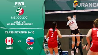 LIVE 🔴 CAN vs. SVK -  Class. 9-16 | Girls U18 Volleyball World Champs 2021