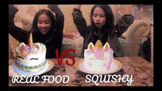 UNICORN CAKE?!?! SQUISHY VS REAL FOOD CHALLENGE INDONESIA | Nadya Safira