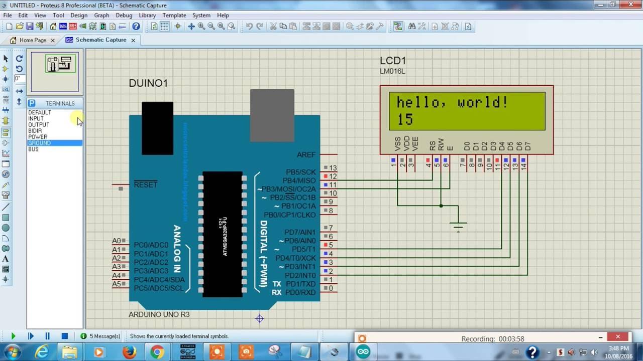 medium resolution of arduino to 16 2 lcd display proteus arduino proteus simulation tutorial 5 youtube