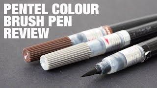 10 Colors Set Pentel Arts XGFL Refillable Calligraphy Fude Color Brush Pens