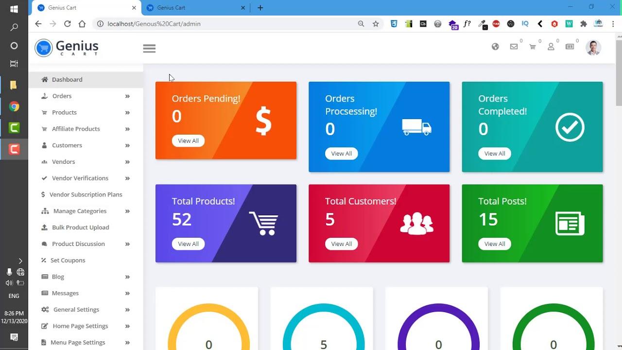 Setting of Genius Cart ecommere website