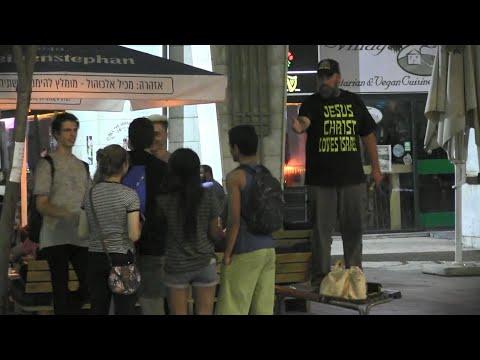 Street Preaching Near Bars/Clubs in Jerusalem, Israel | Kerrigan Skelly of PinPoint Evangelism