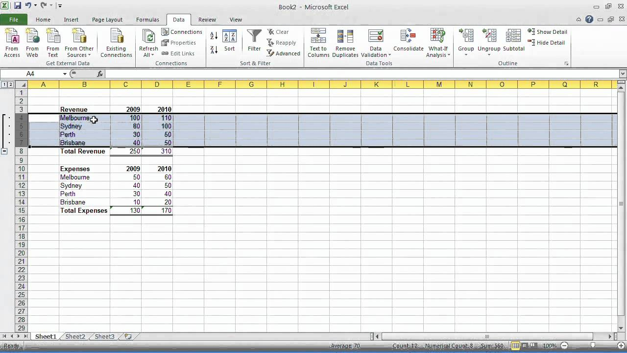 Excel Tips - Tip#24: Group and outline data