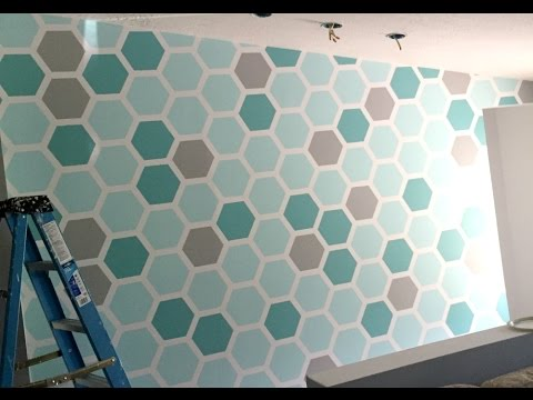 How to paint a hexagon shaped honeycomb accent wall youtube Painting geometric patterns on walls