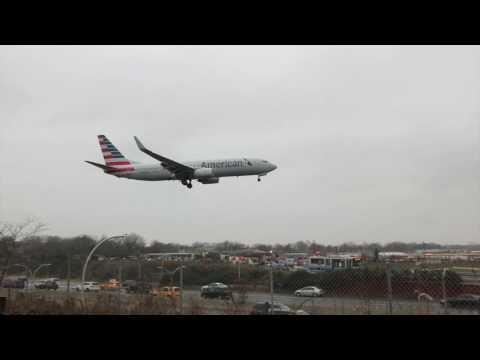 Rainy Day Landings on Runway 4 at LaGuardia Airport (LGA)
