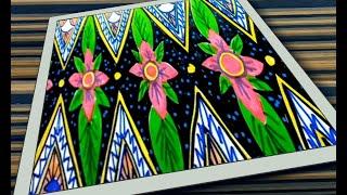 Menggambar Batik Motif Bunga#mudah Dan Hasilnya Lumayan Keren