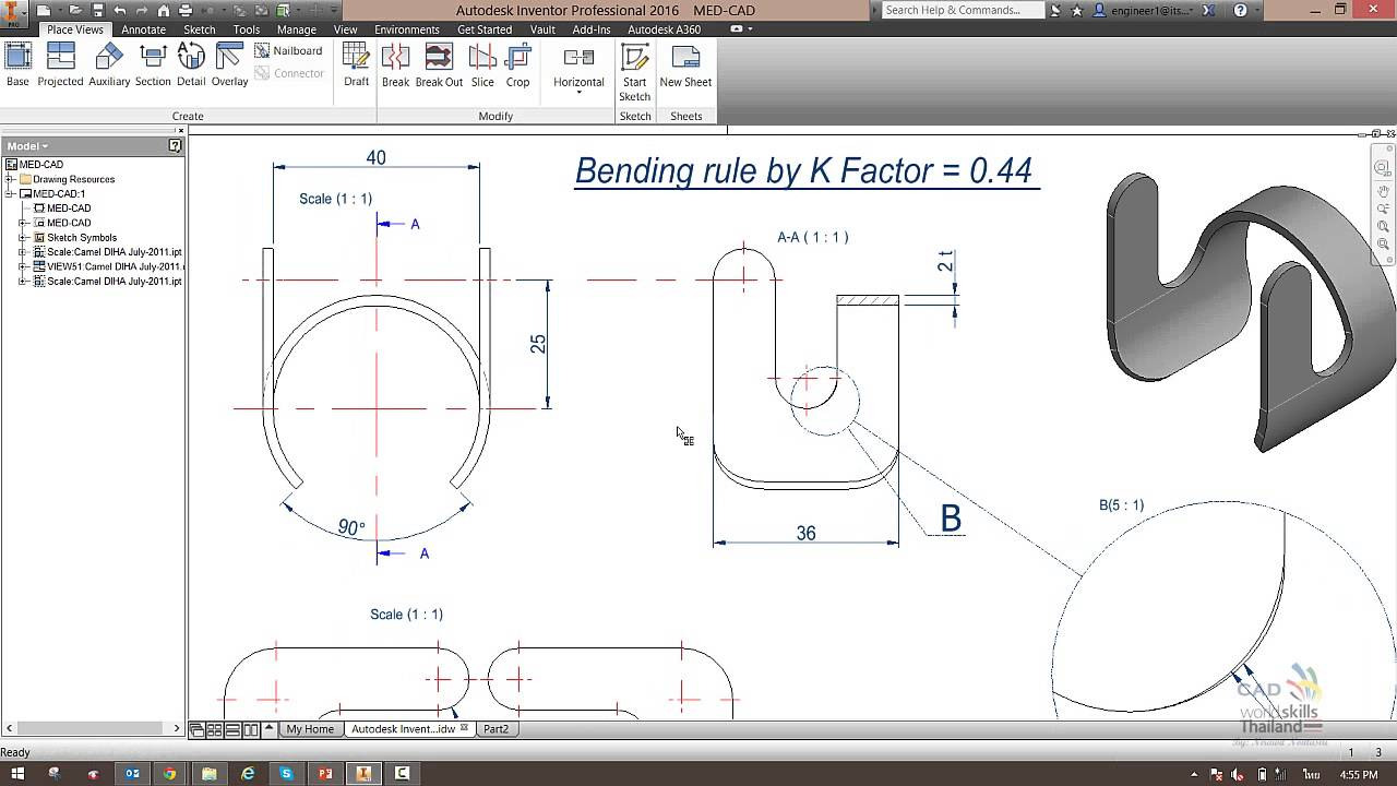 Autodesk Inventor Advance Modeling Practice 3 Laser Cut