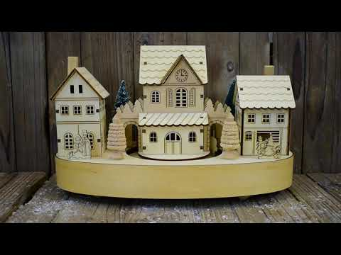 Musical Wooden Lit Christmas Village Scene