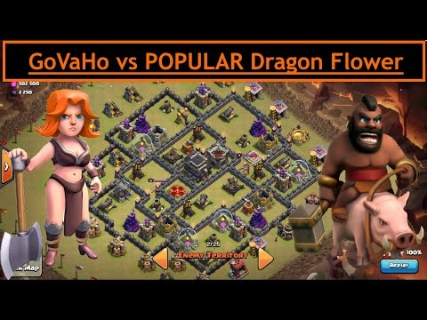 GoVaHo vs POPULAR Dragon Flower TH9. UPDATE Valks & HOGS. Max Attack. Clash of Clans