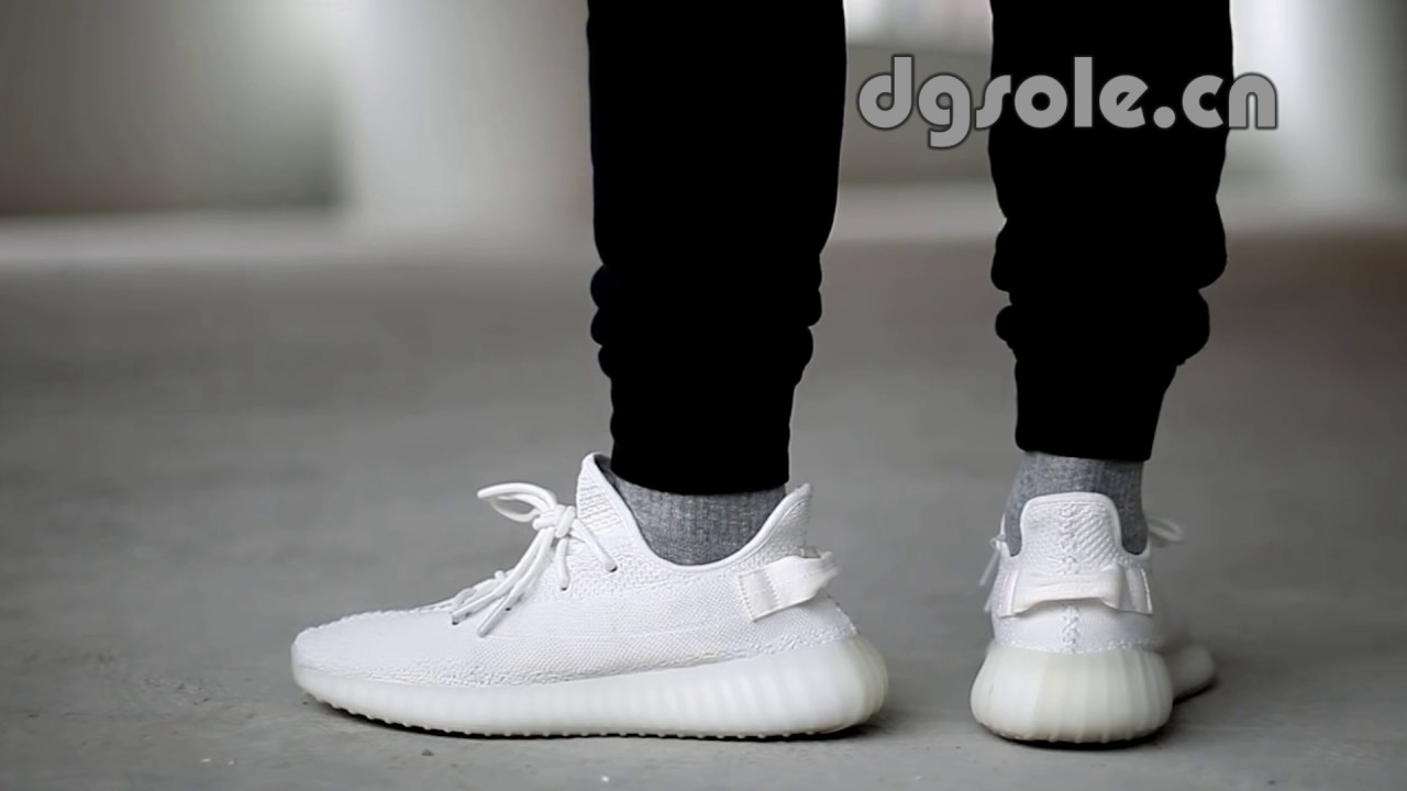 588649368 On Feet Adidas YEEZY BOOST 350 V2 TRIPLE WHITE CREAM WHITE - YouTube