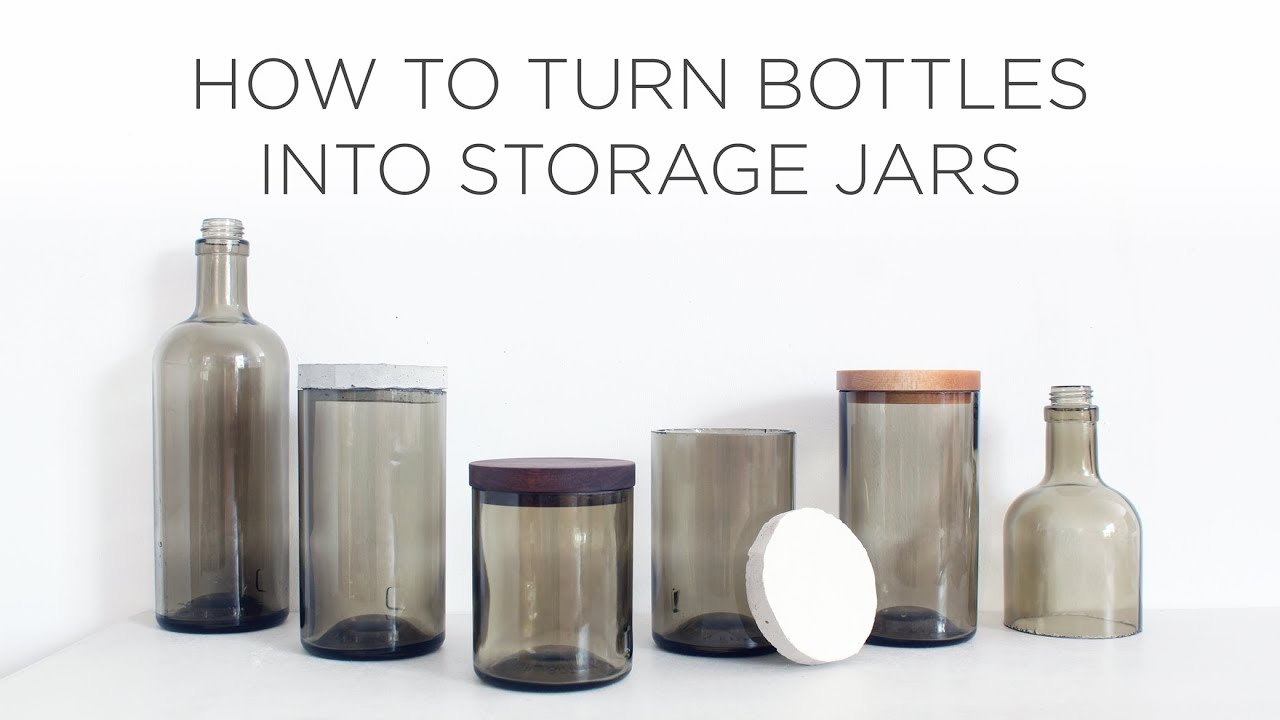 how to cut glass bottles and turn them into storage jars with lids youtube. Black Bedroom Furniture Sets. Home Design Ideas