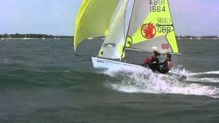 RS Feva Sailing 30 Knots at Hayling Island