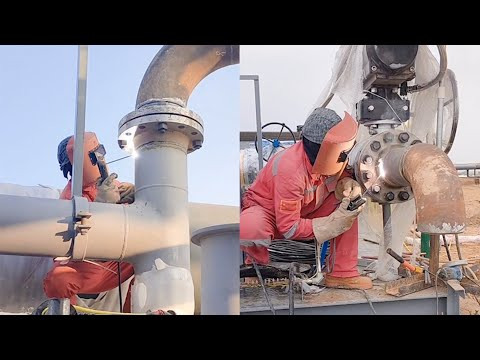 Record the AHW welding process of a huge natural gas pipeline