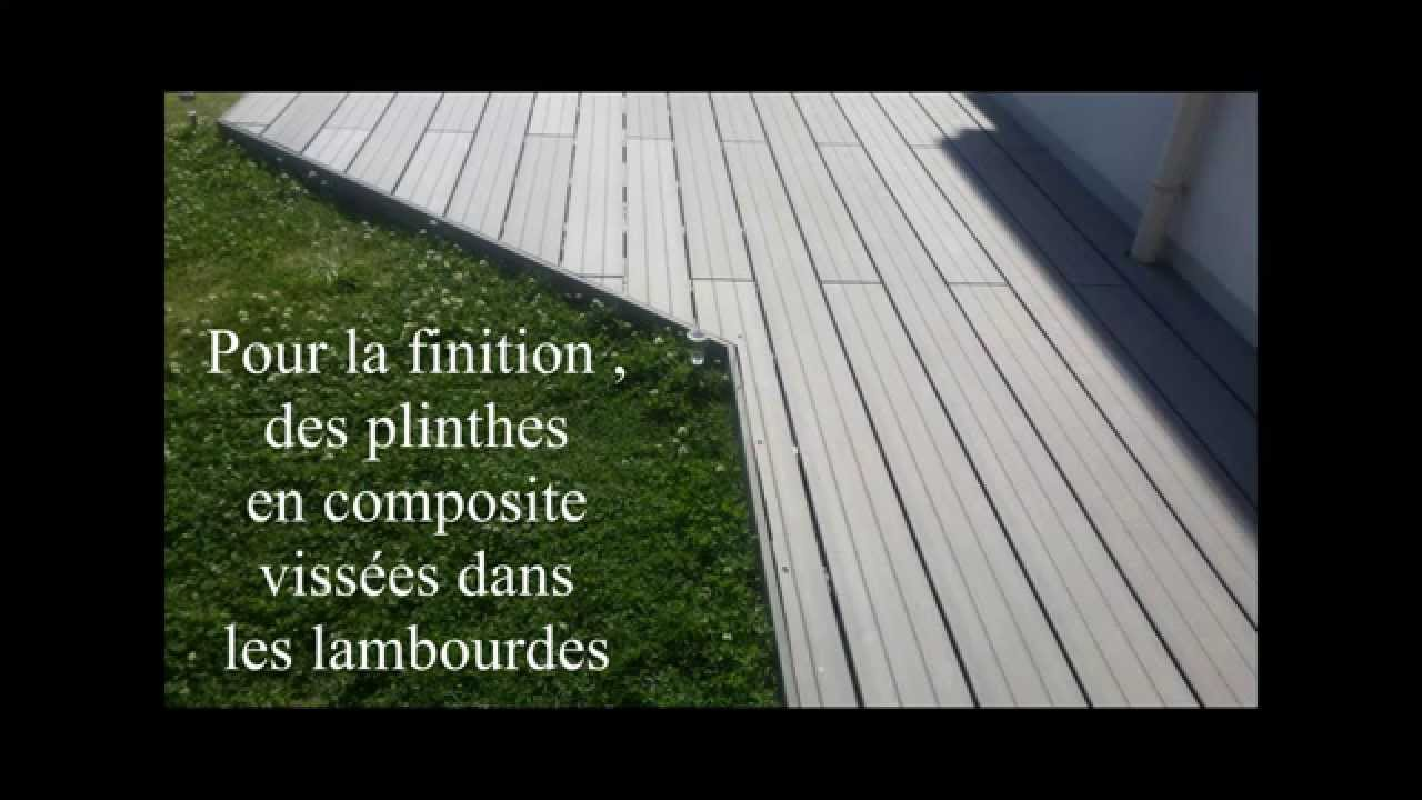 Terrasse composite sur plots b ton youtube for Terrasse bois sur plot