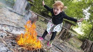 Adley builds a SMORES FIRE 🔥