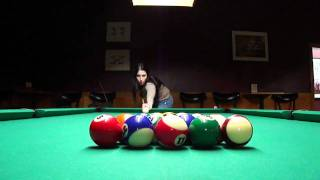 Professional Pool Hustler Billiards Pool Hall Pro Breaking on Pool Table