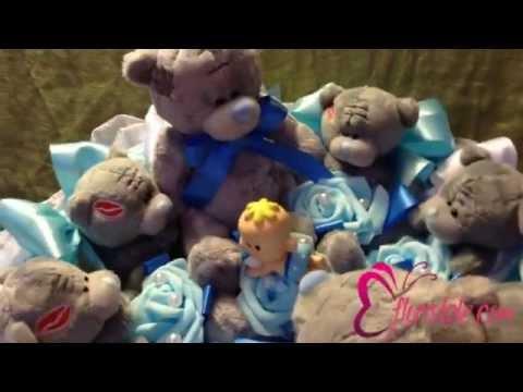 Букет на выписку из роддома с мишками Тедди BG-92 смотреть онлайн