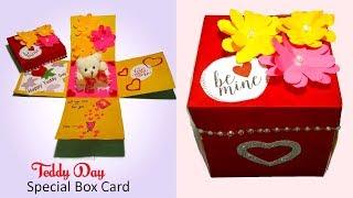 Teddy Day Box Card DIY | valentine box card tutorial | diy origami box valentine