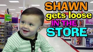 BABY SHAWN PLOPS OOPS IN BATHTUB 😢 + GOES SHOPPING @ TARGET 😃 (FUNnel Vision Baby Gone Wild Vlog)