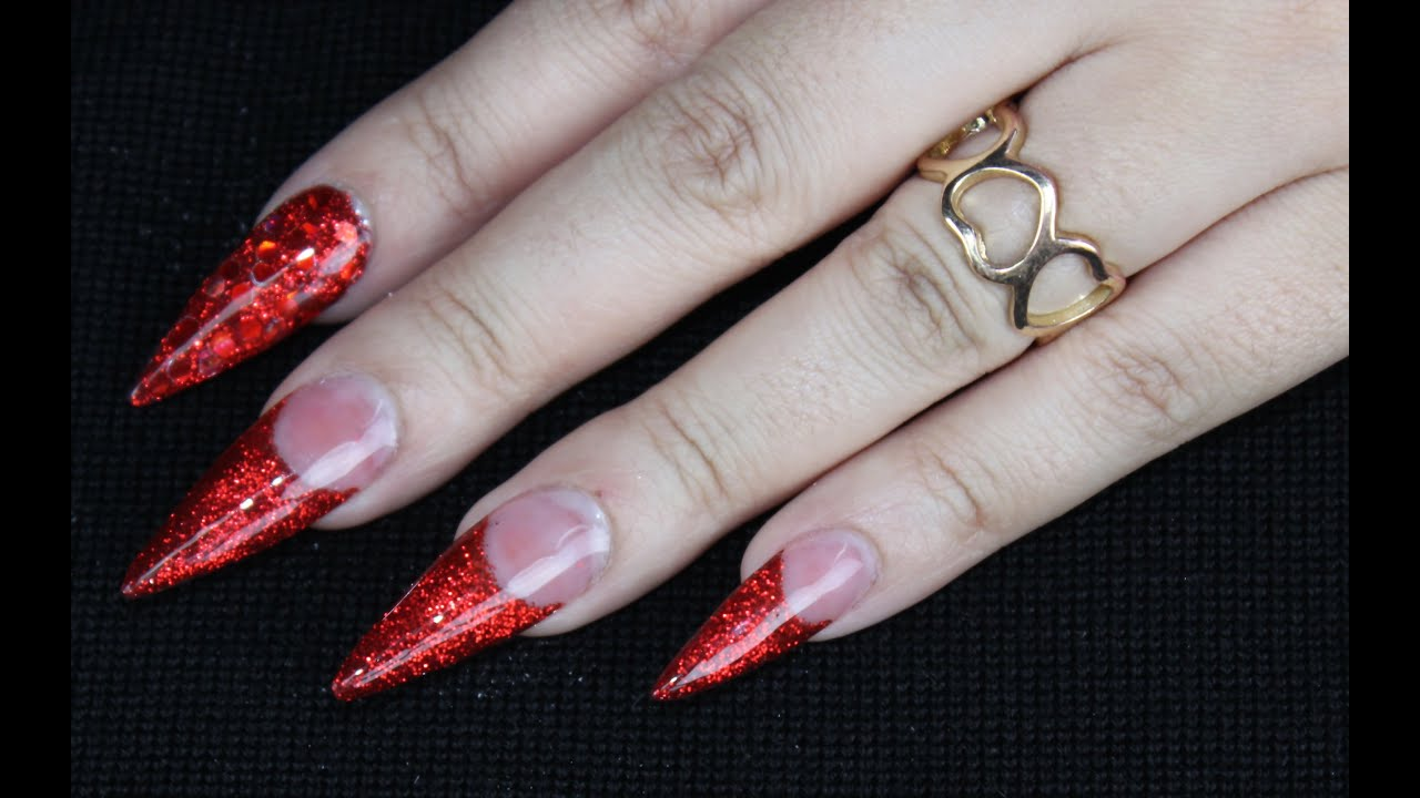 Red Glitter Stiletto Nails | Best Nail Designs 2018