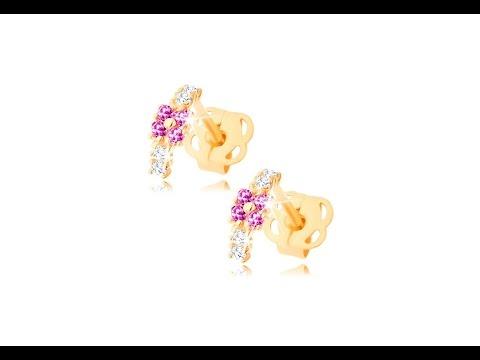 576f9d581 Šperky - Náušnice v žltom 14K zlate - malý oblúčik zdobený čírymi a  ružovými zirkónmi
