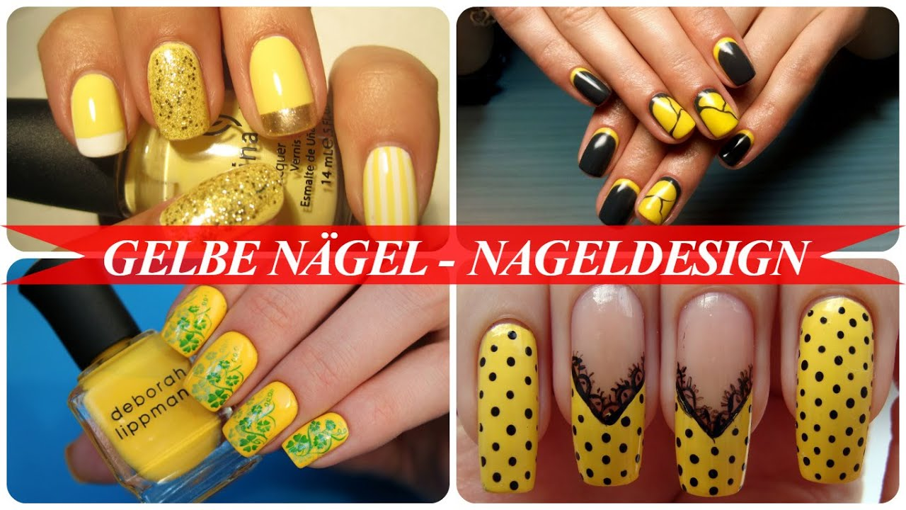 Gelbe nägel - nageldesign - YouTube