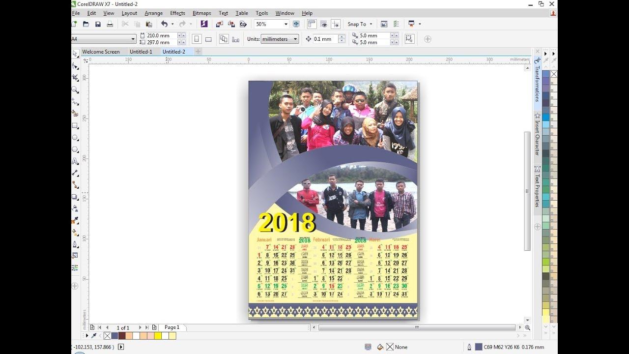Cara mudah membuat desain kalender Di Coreldraw - YouTube
