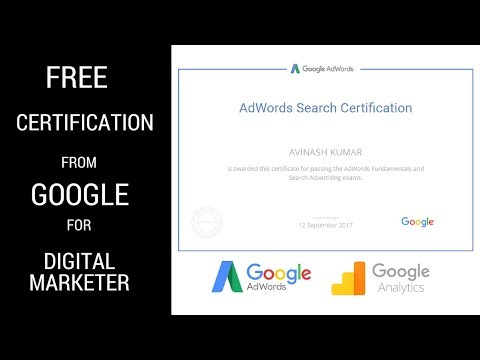 Free Certificate For Google AdWords & Analytics 2018 | Digital Marketing Course