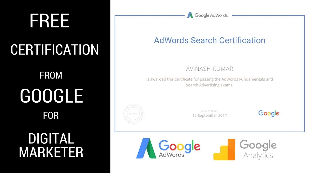 Free Certificate For Google Adwords Analytics 2018 Digital
