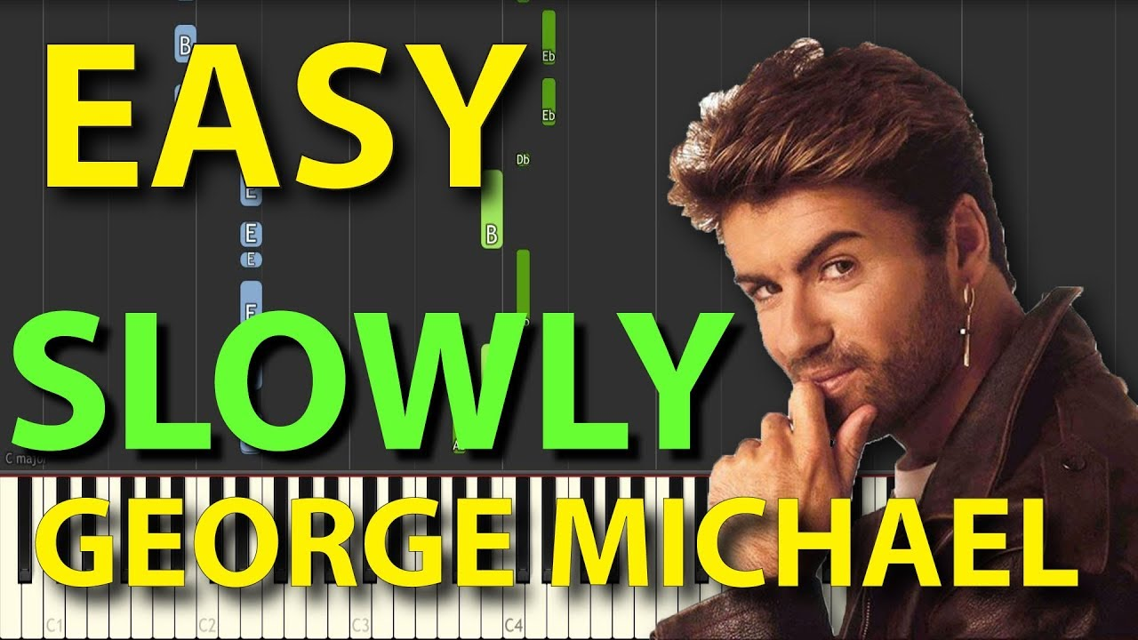 Faith George Michael EASY Piano Tutorial SLOWLY speed for two hands Synthesia
