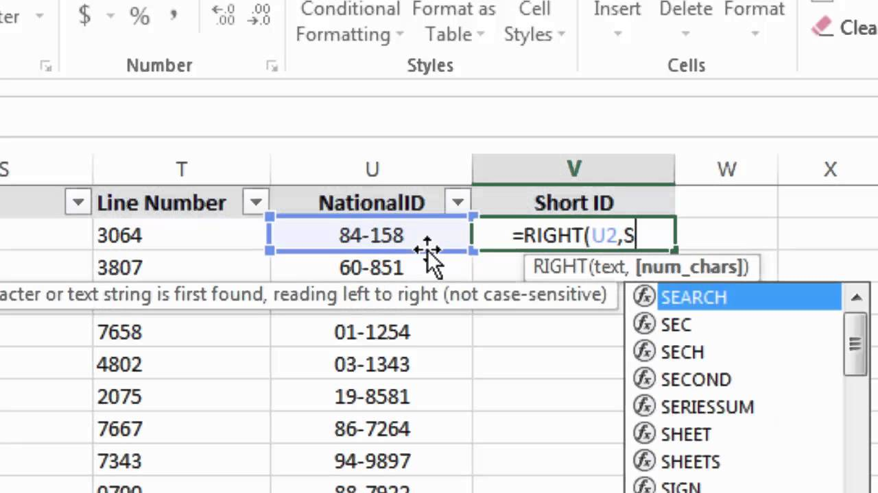 Advanced Excel text functions combining RIGHT, LEN & SEARCH