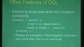Lecture -37 Object Oriented Databases II