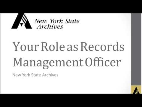 Your Role as a State Agency Government Records Management Officer