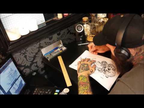 Skull Kraken Tattoo Design - Timelapse