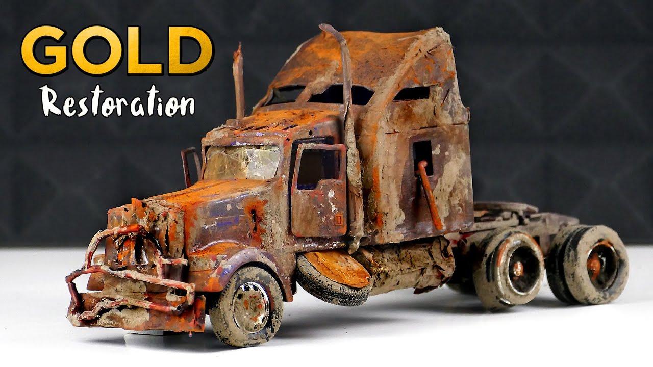 Restoration Kenworth Truck to 24k GOLD abandoned car