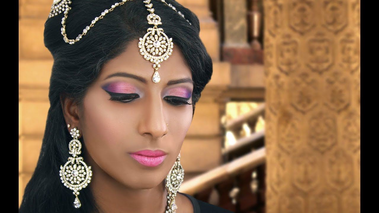 Peach, Pink, And Purple Bridal Makeup Tutorial For Uneven