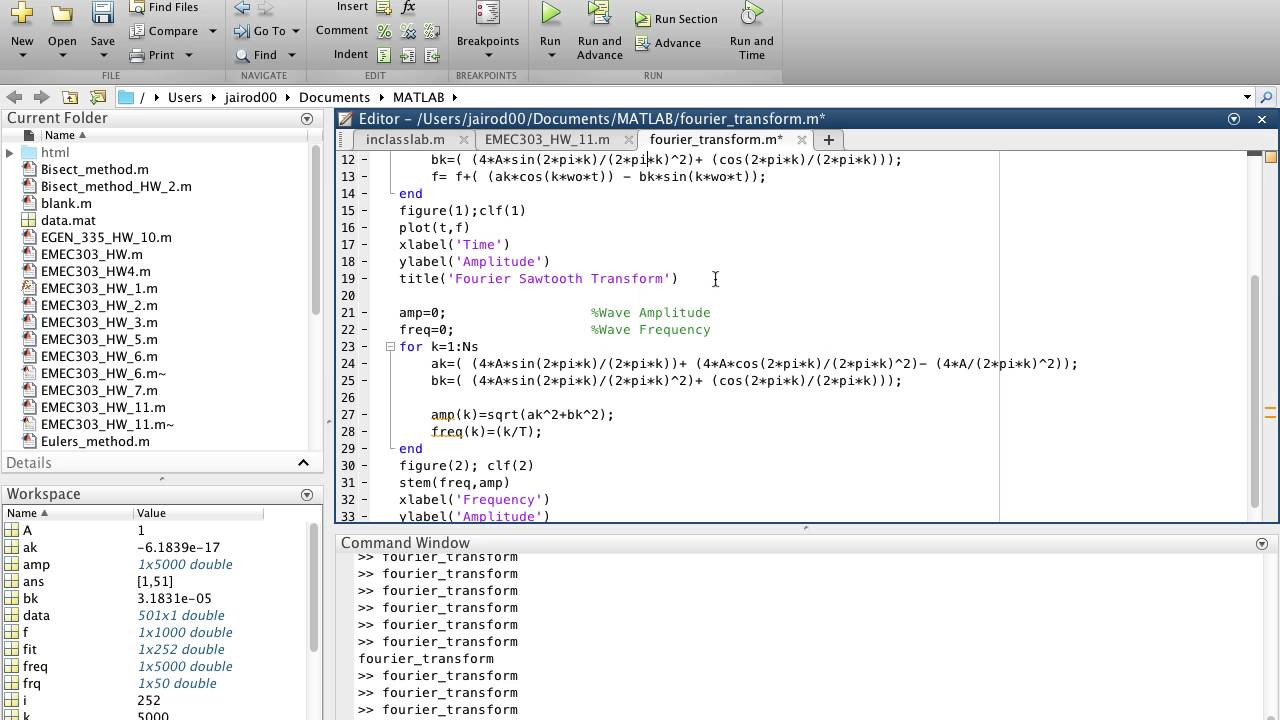 Student Contribution - Fourier Series - MATLAB code