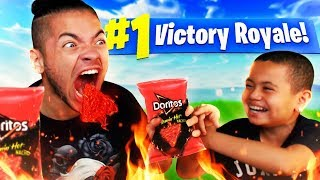1 KILL = FLAMING HOT DORITOS (EXTREMELY SPICY) *ALMOST DIED* FORTNITE BATTLE ROYALE CHALLENGE!