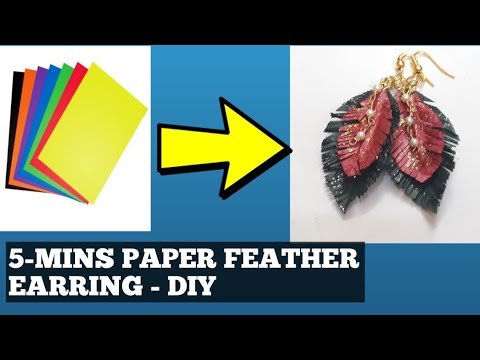 5 MINS CRAFT//HOW TO MAKE PAPER FEATHER EARRING - DIY