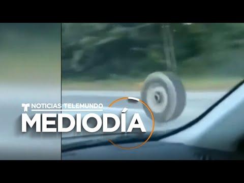 Captan un neumático suelto que provoca grave accidente en Nueva Jersey | Noticias Telemundo