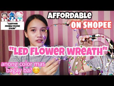 Unboxing LED Flower wreath | Cartoon desk stand | Universal phone stand | Korean headband | Shopee