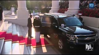 Namibia President Hifikepunye Pohamba and spouse Penehupifo Pohamba arrive at the White House Diner