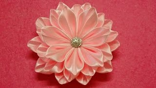 DIY Kanzashi flower,ribbon flower tutorial,how to,easy I REUPLOAD