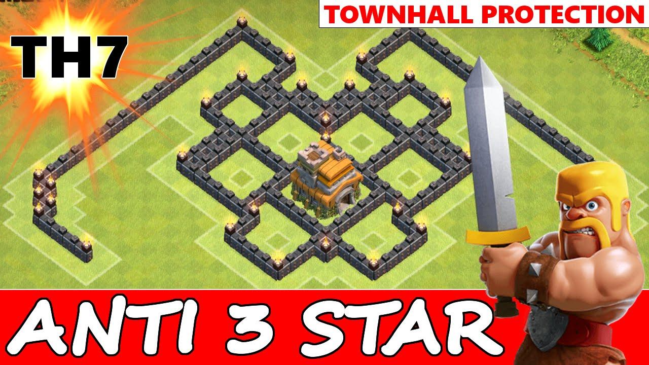 Clash of clans epic th7 anti 3 star war base anti dragon amp ground