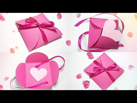 Paper gift box love diy tutorial making easy ideas/valentine love heart& Envelope secret message