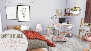The Sims 4 Speed Build | TUMBLR TEEN BEDROOM + CC Links