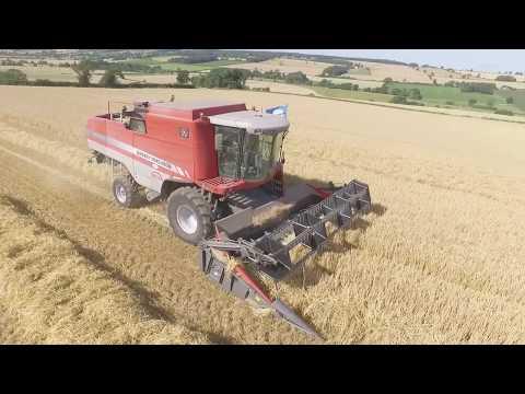 Summer Harvest Yorkshire with Massey Ferguson Combine Harvester Aerial View 2017